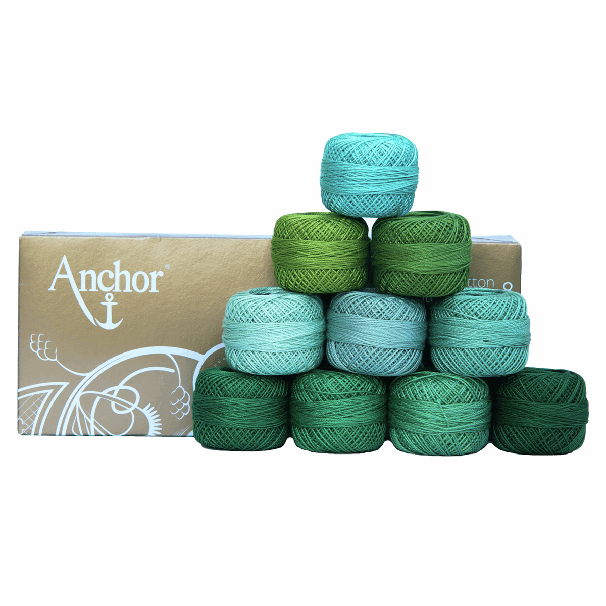 Picture of Pearl Cotton 8: Assortment of Green Shades: 10 x 20g Balls