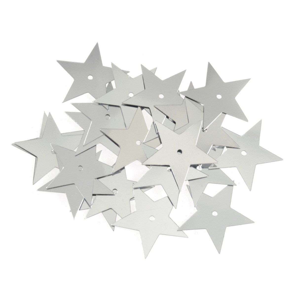 Picture of Sequins: Stars: Large: Silver: 5 Packs of 23