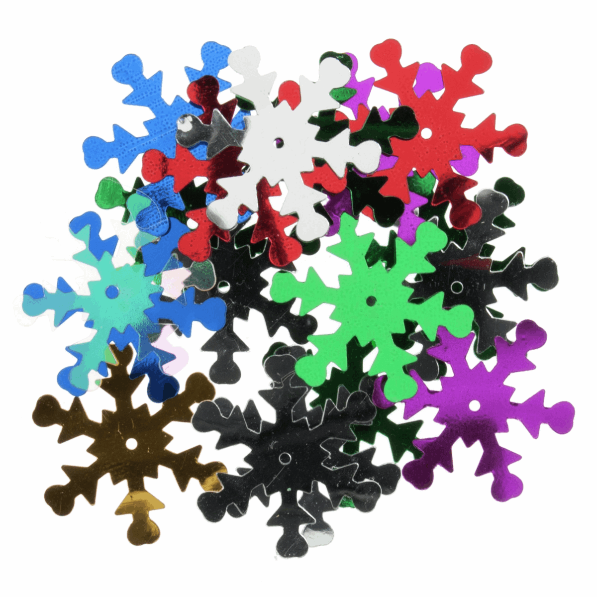Picture of Sequins: Snowflake: Multicoloured: 5 x Packs of 18