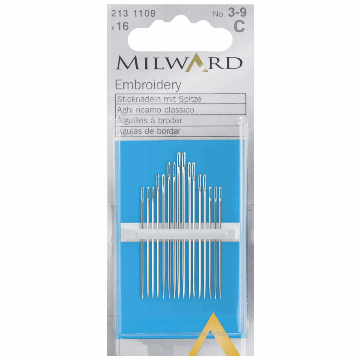 Picture of Hand Sewing Needles: Embroidery/Crewel: Nos.3-9: 16 Pieces