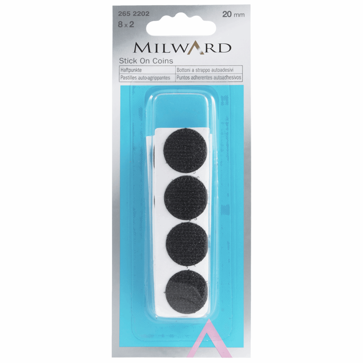 Picture of Hook & Loop Dots: Stick-On: 8 sets of 20mm: Black