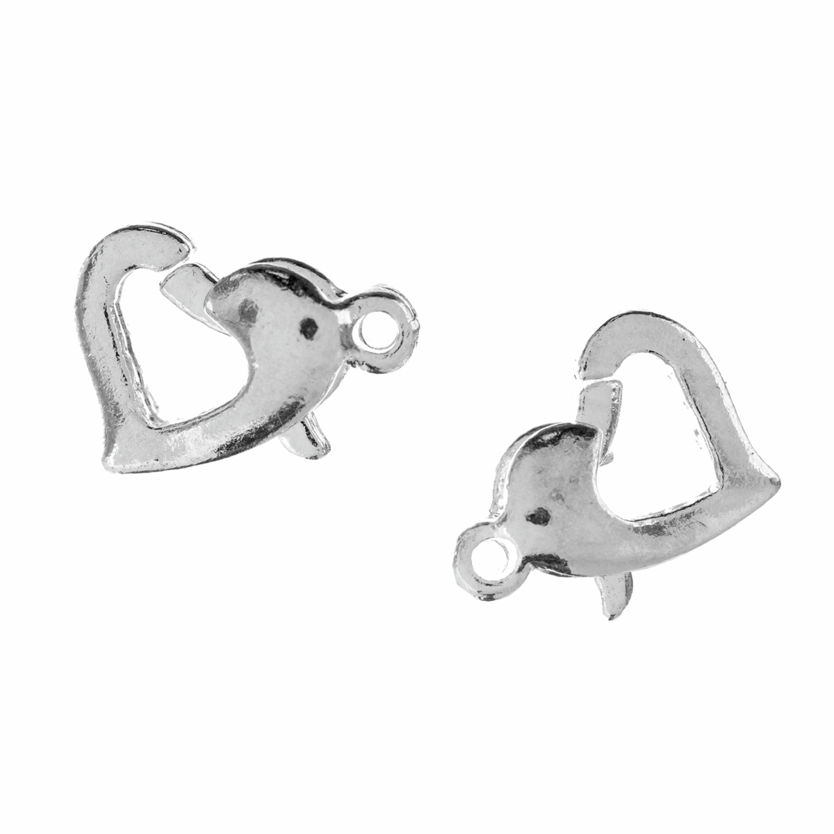 Picture of Trigger Clasp: Heart: Silver: 5 Packs of 2