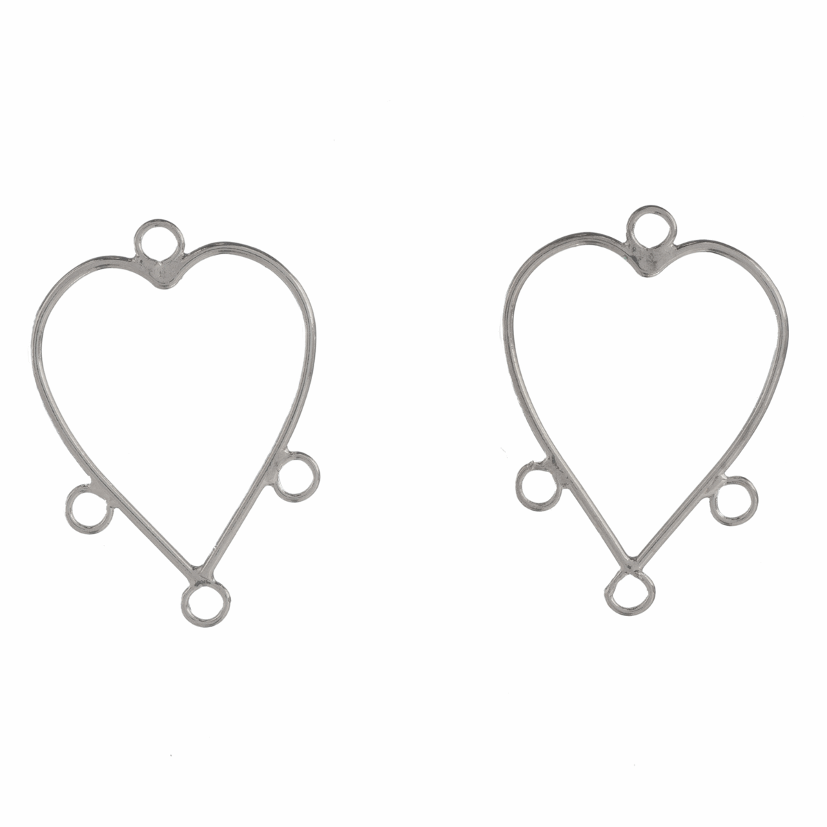 Picture of Heart Earrings with Loops: Silver: 5 Packs of 2