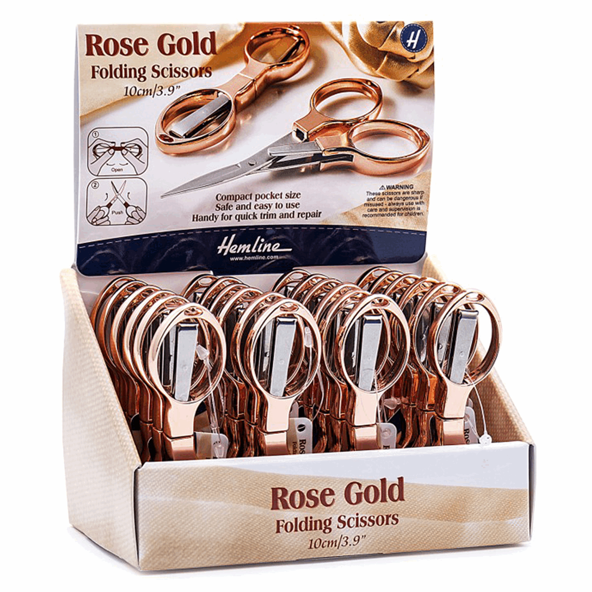 Picture of Counter Display Unit: Folding Scissors: 10cm/4in: Rose Gold: 24 Pieces