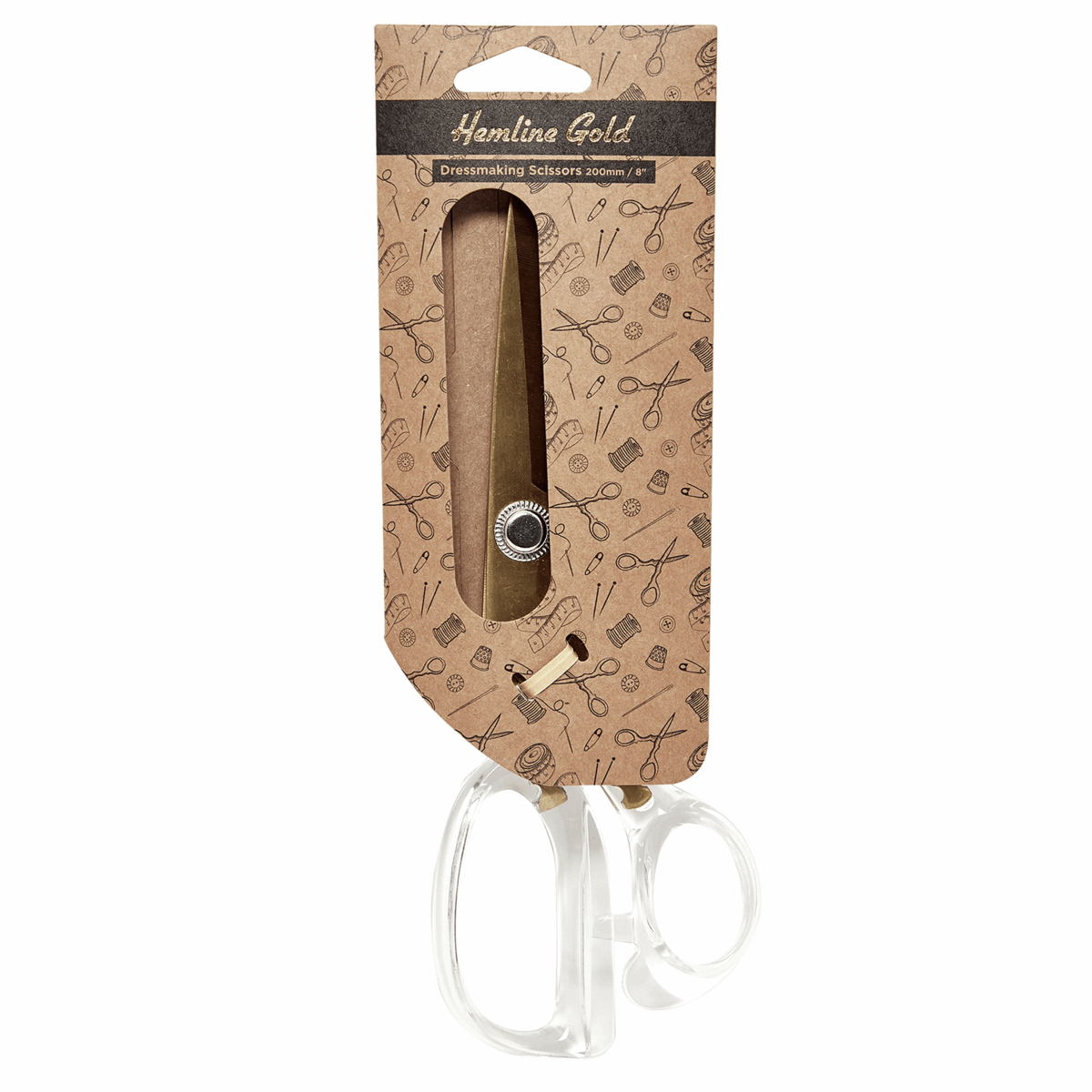 Picture of Scissors: Dressmaking Scissors: Acrylic Handle: 20cm/8in: Brushed Gold