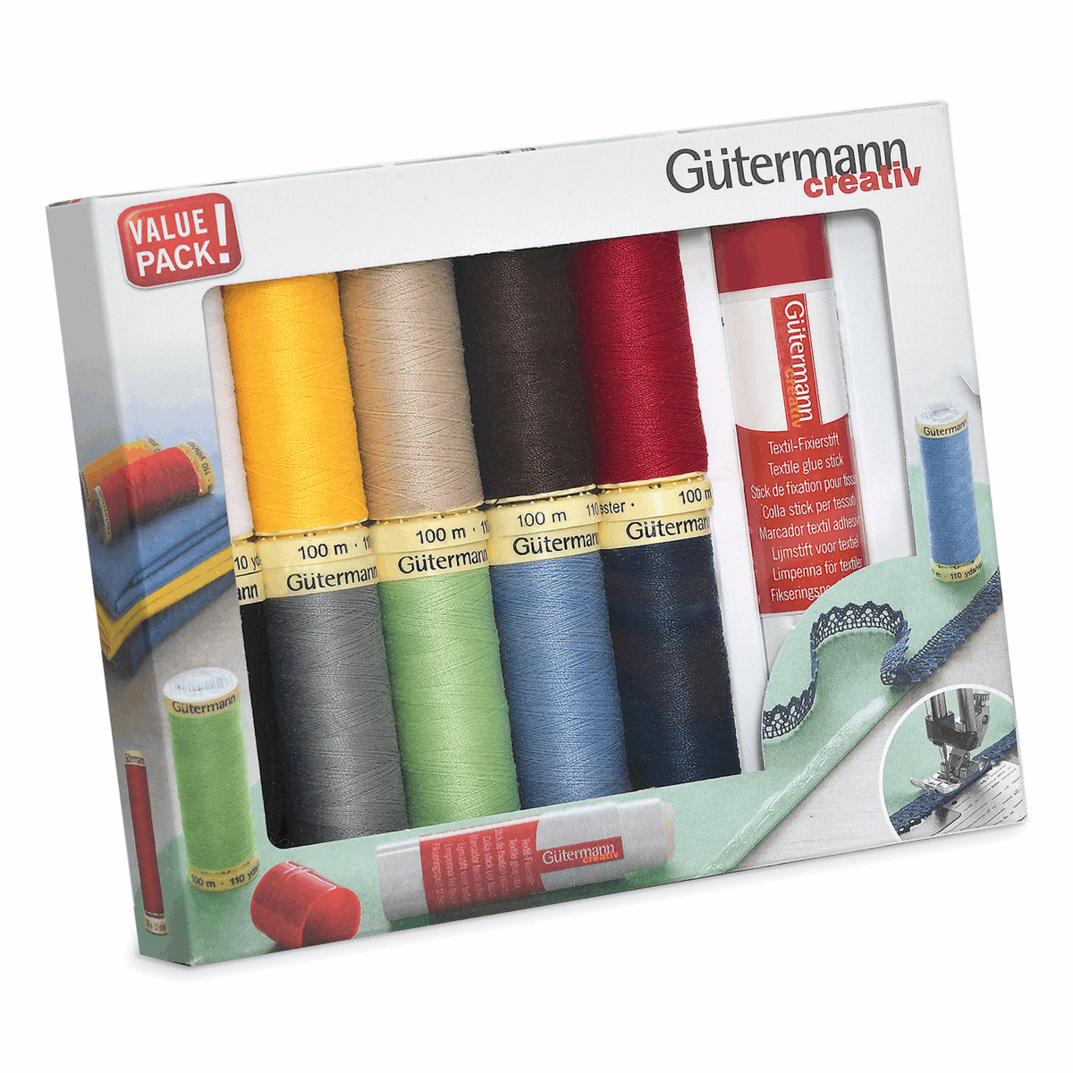 Picture of Thread Set: Sew-All: 10 x 100m: with Textile Glue Stick