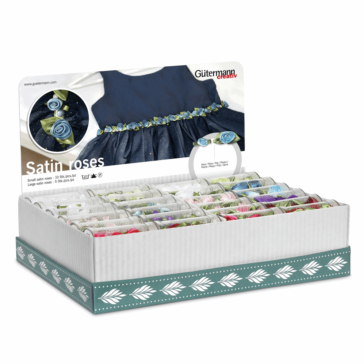 Picture of Storage and Display Box: Satin Roses: 48 Tubes: Assorted