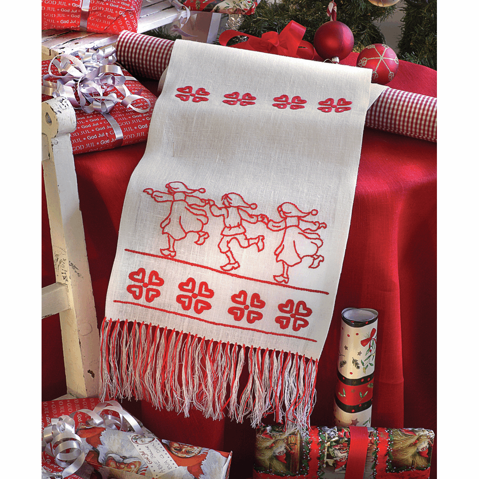 Picture of Embroidery Kit: Runner: Dancing Santa