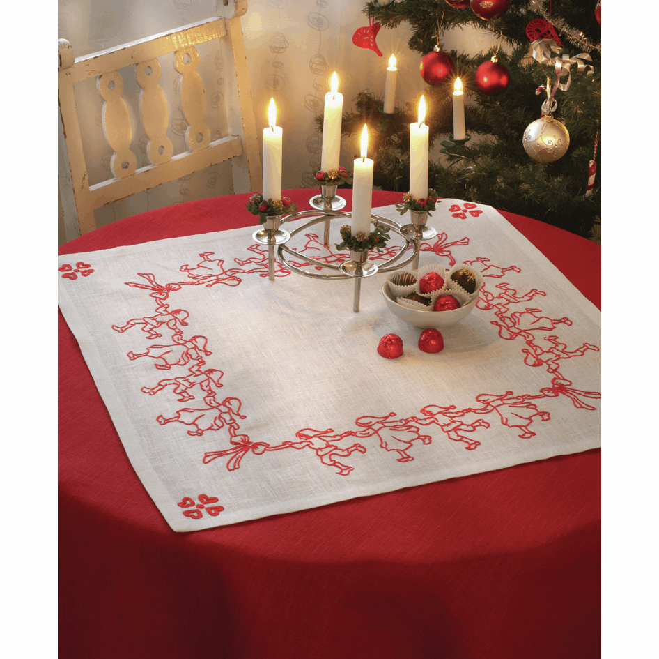 Picture of Embroidery Kit: Tablecloth: Dancing Santa