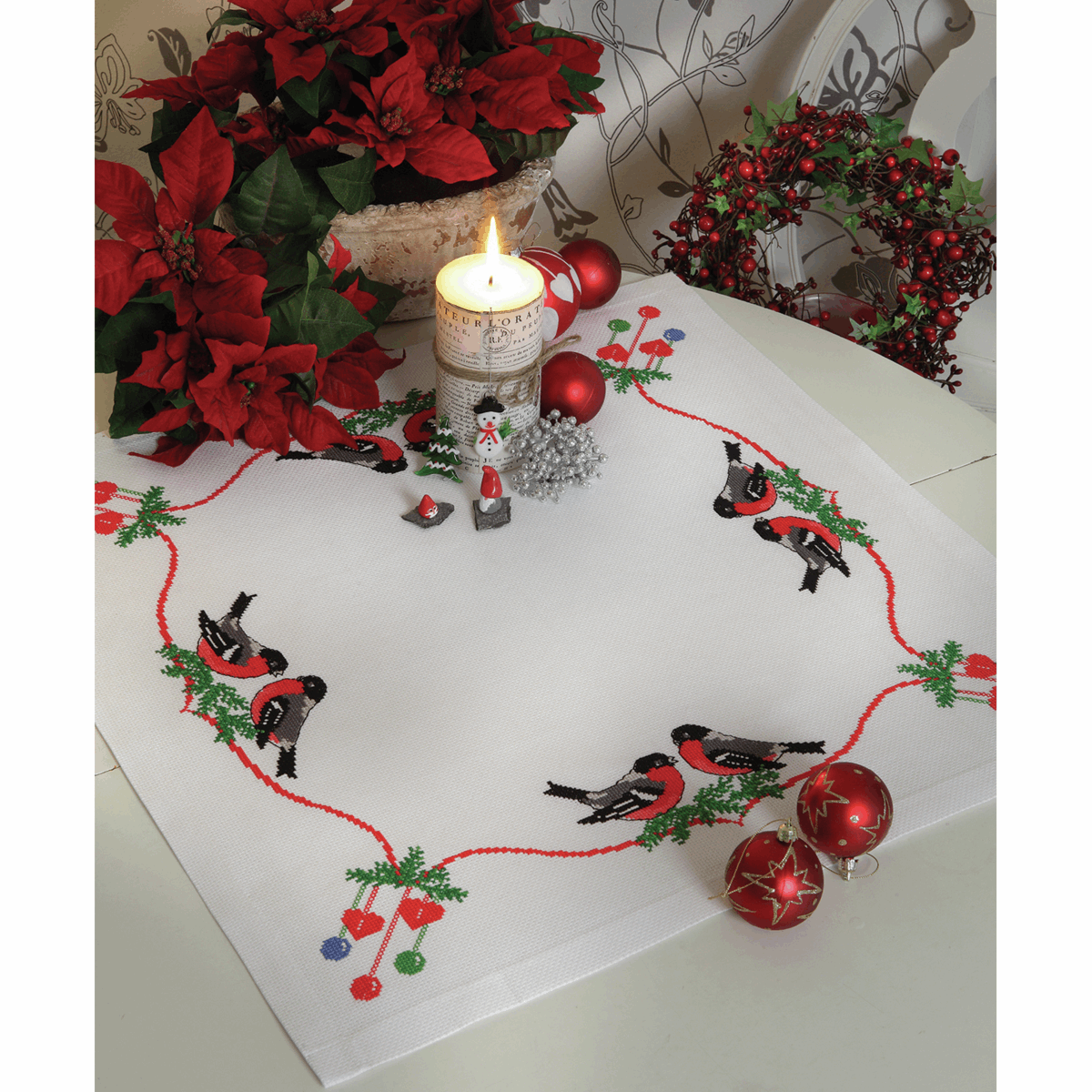 Picture of Cross Stitch Kit: Christmas Bullfinches: Tablecloth