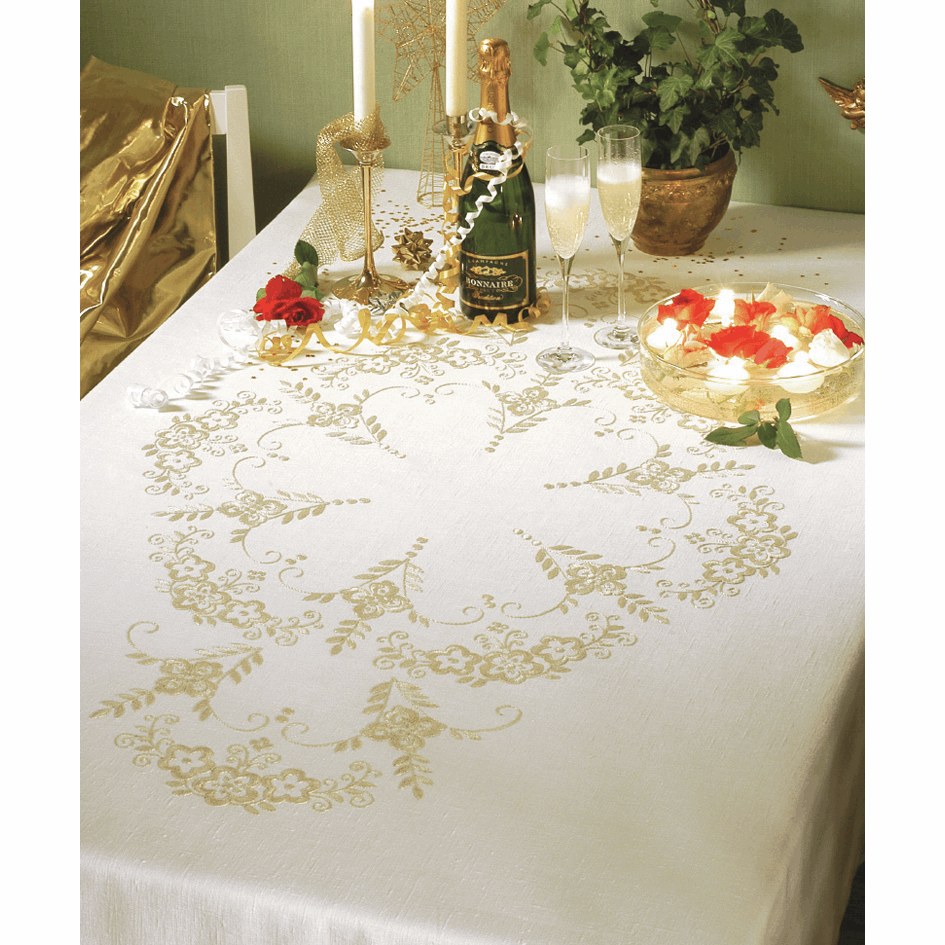 Picture of Embroidery Kit: Tablecloth: Festivas