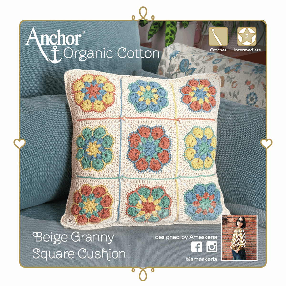 Picture of Crochet Kit: Cushion: Granny Square: Beige