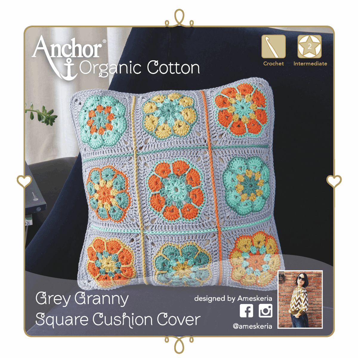 Picture of Crochet Kit: Cushion: Granny Square: Grey