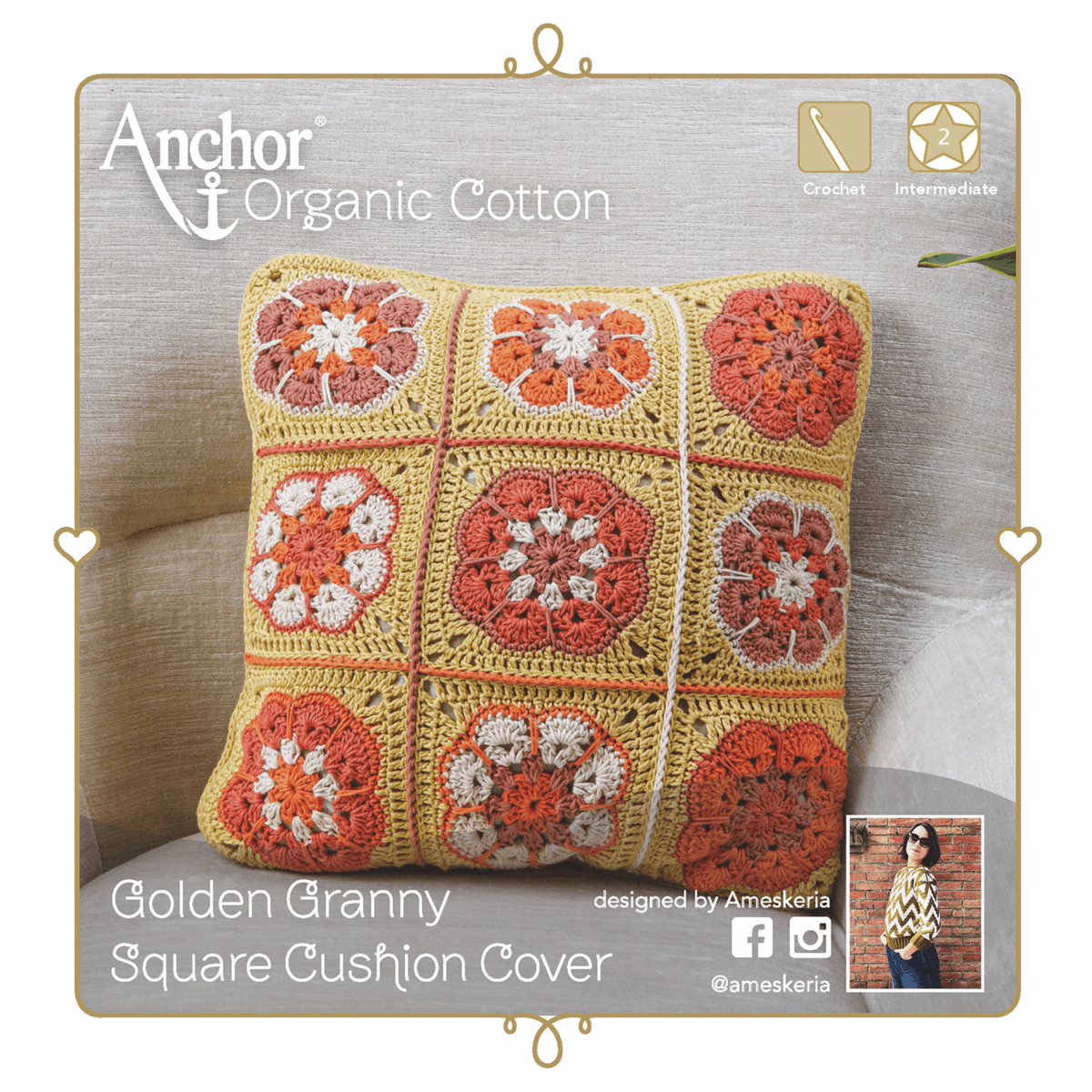 Picture of Crochet Kit: Cushion: Granny Square: Gold