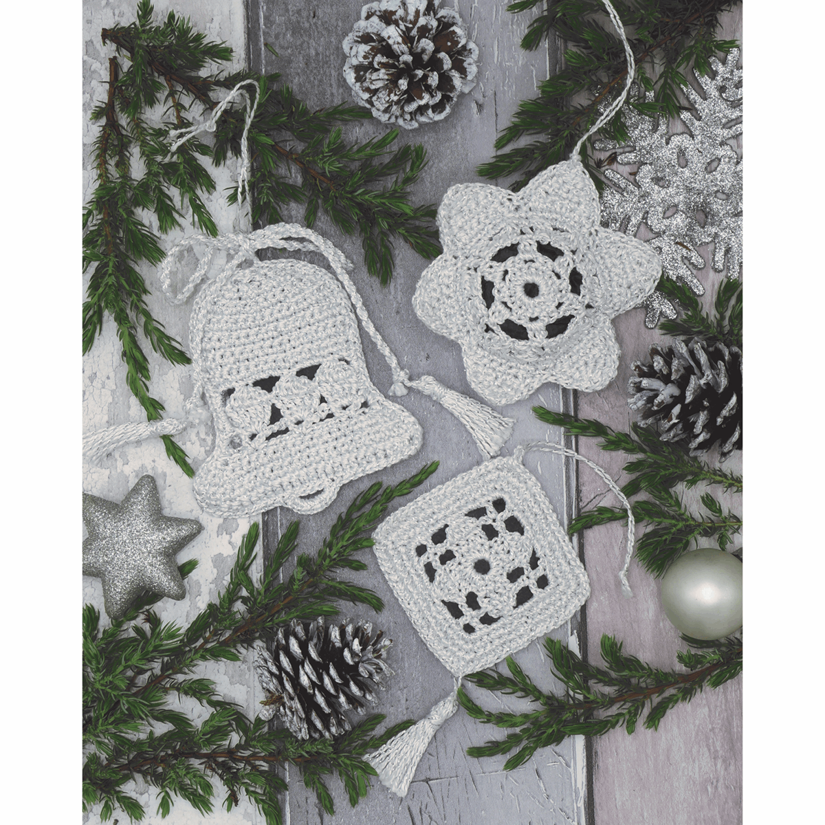 Picture of Crochet Kit: Christmas Tree Decorations: White