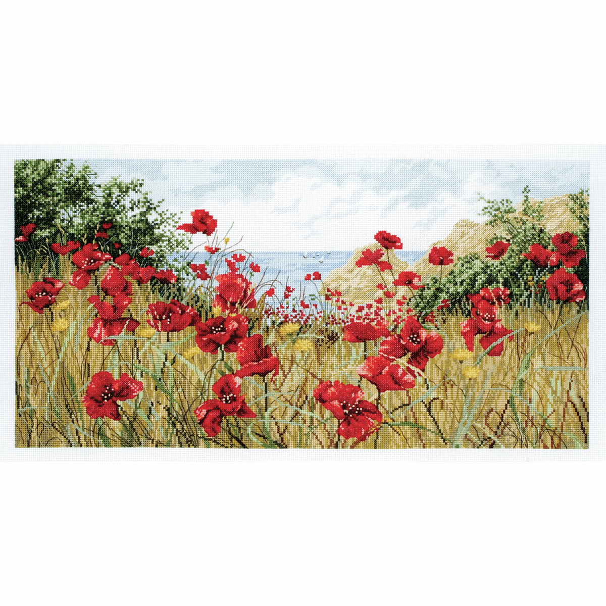 Picture of Counted Cross Stitch Kit: Maia: Clifftop Poppies