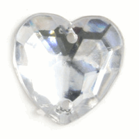 Picture of Acrylic Jewels: Sew-On: Heart: Clear: 100pk
