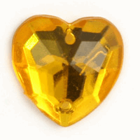 Picture of Acrylic Jewels: Sew-On: Heart: Gold: 100pk