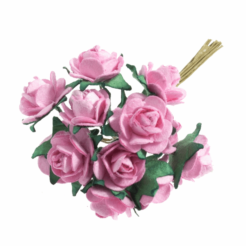 Picture of Spray: Rose Open: Paper: 14mm: Pack of 12: Pink
