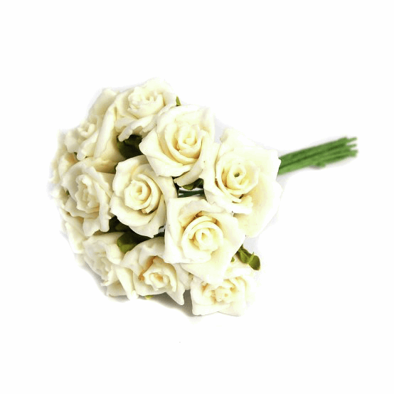 Picture of Spray: Rose: Polyfoam: 26mm: Pack of 12: Cream\White