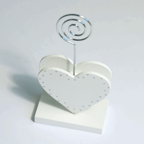 Picture of Table Decoration: Name Card Holder: Double Heart: 6.4 x 13cm: Pack of 1: White\Silver