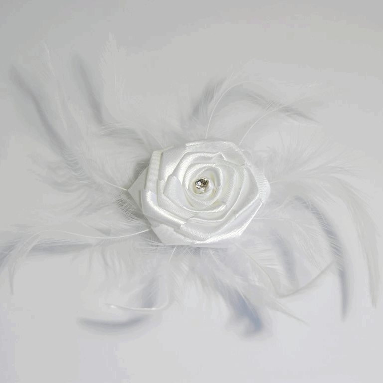 Picture of Ribbon Rose: Diamante Feather with Pin Clip: White