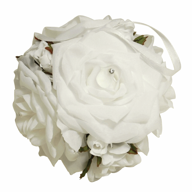 Picture of Flower Ball: Rose Bud with Ribbon: White