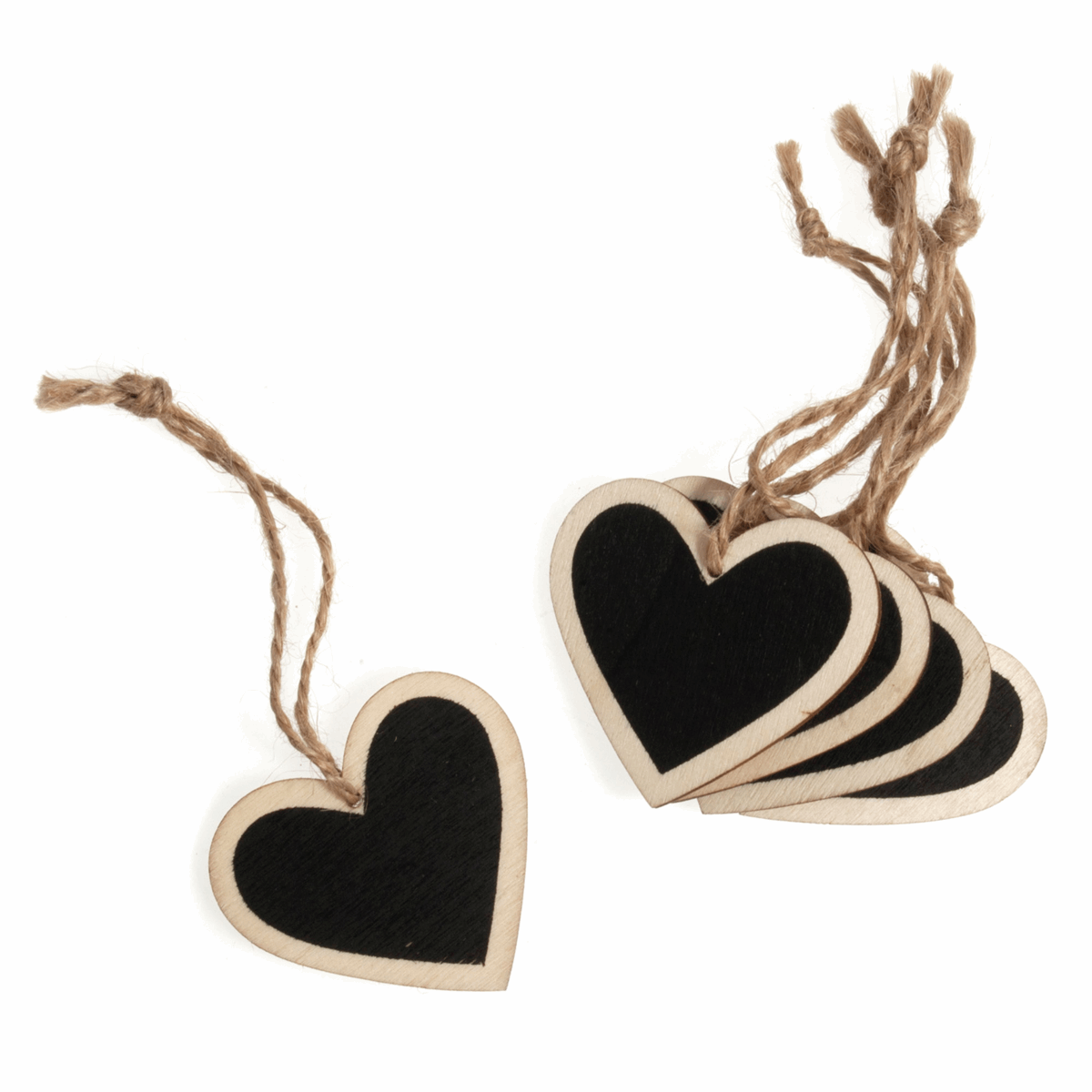 Picture of Table Decoration: Wooden Heart with Blackboard: 4.8 x 5cm: Pack of 5: Natural