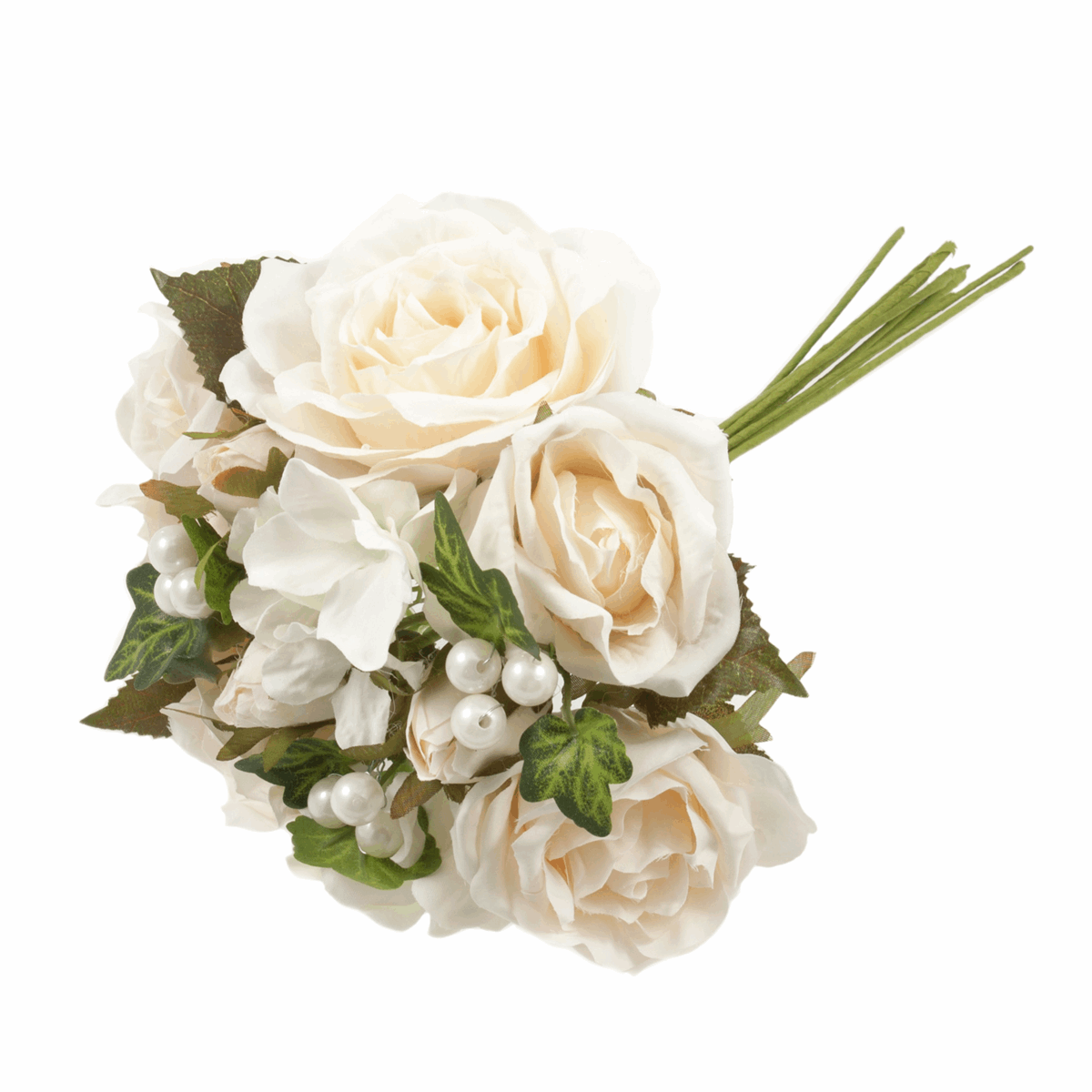Picture of Bouquet: Rose with Pearls: 12 Assorted Stems: 30cm: White