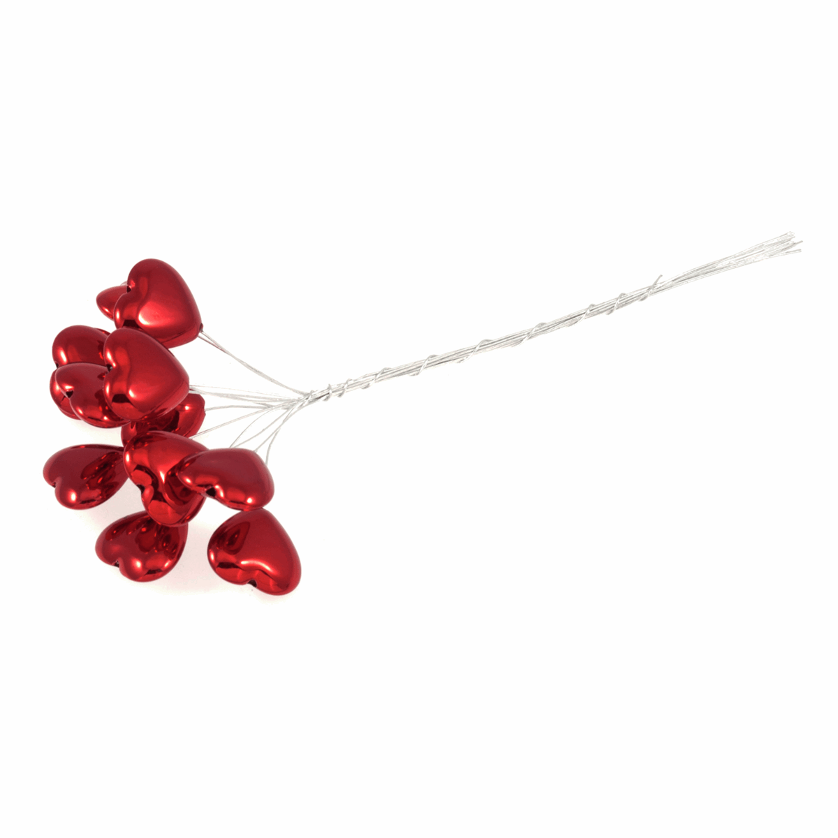 Picture of Pick: Heart: Metallic: 15cm: Red on Silver Wire: 12 Pieces