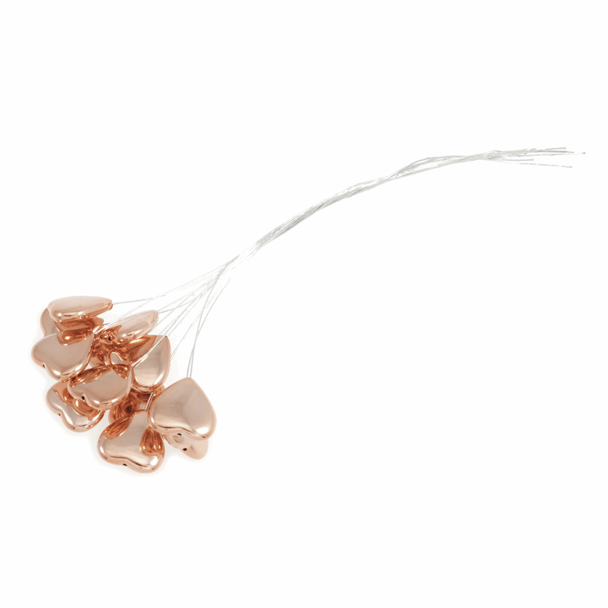 Picture of Pick: Heart: Metallic: 15cm: Rose Gold on Silver Wire: 12 Pieces