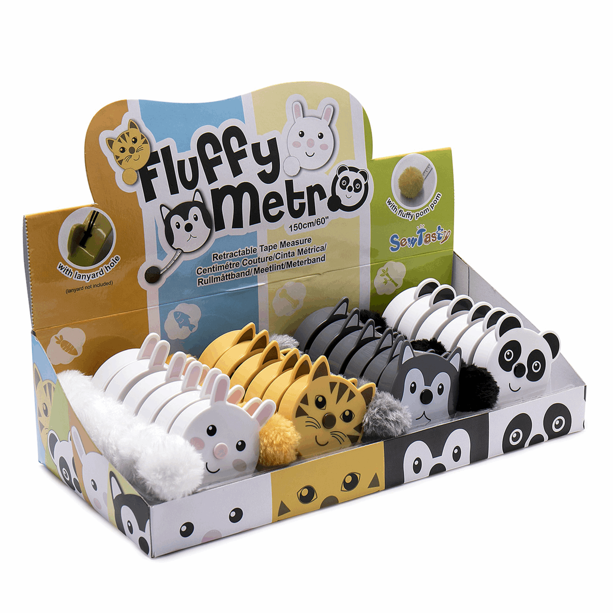 Picture of Counter Display Unit: Tape Measures: Fluffy Animals: 24 Pieces