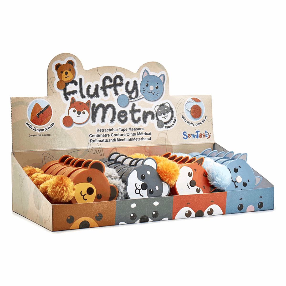 Picture of Counter Display Unit: Tape Measure: Fluffy Animals