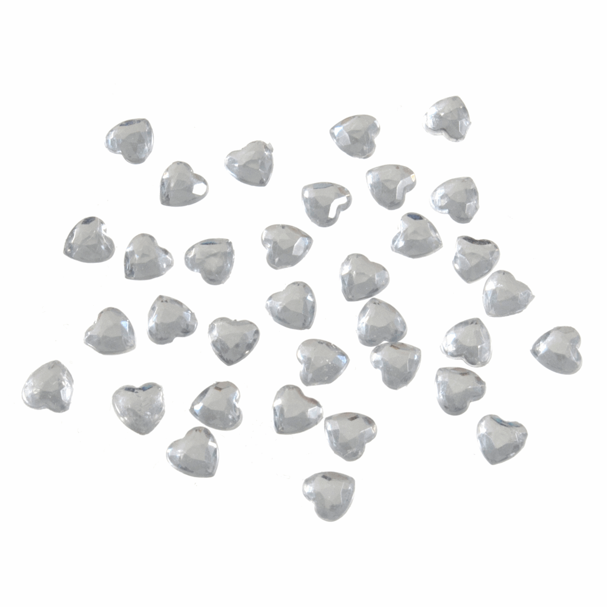 Picture of Acrylic Stones: Glue-On: Heart: 6mm: Clear