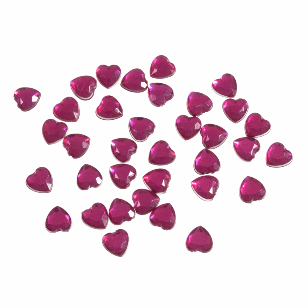 Picture of Acrylic Stones: Glue-On: Heart: 6mm: Cerise