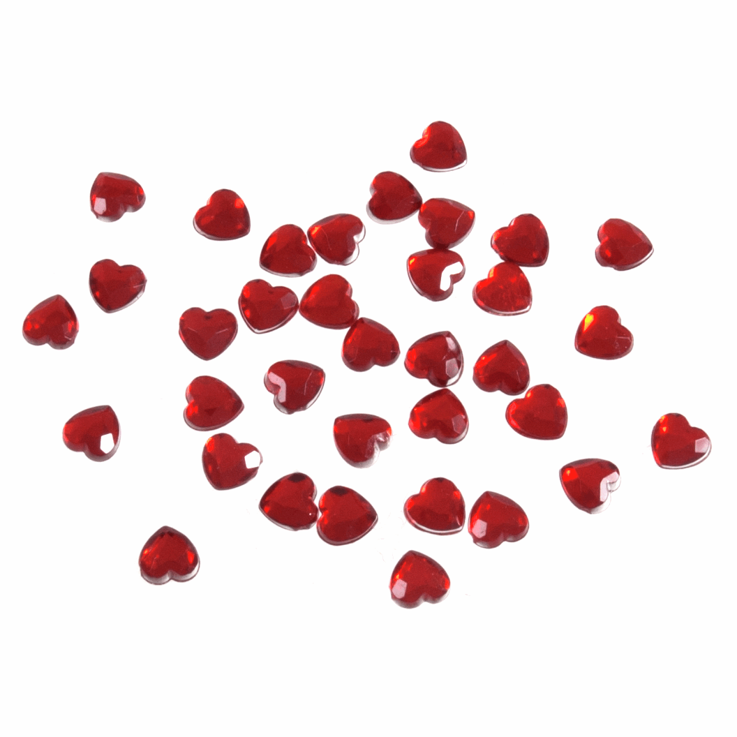 Picture of Acrylic Stones: Glue-On: Heart: 6mm: Red