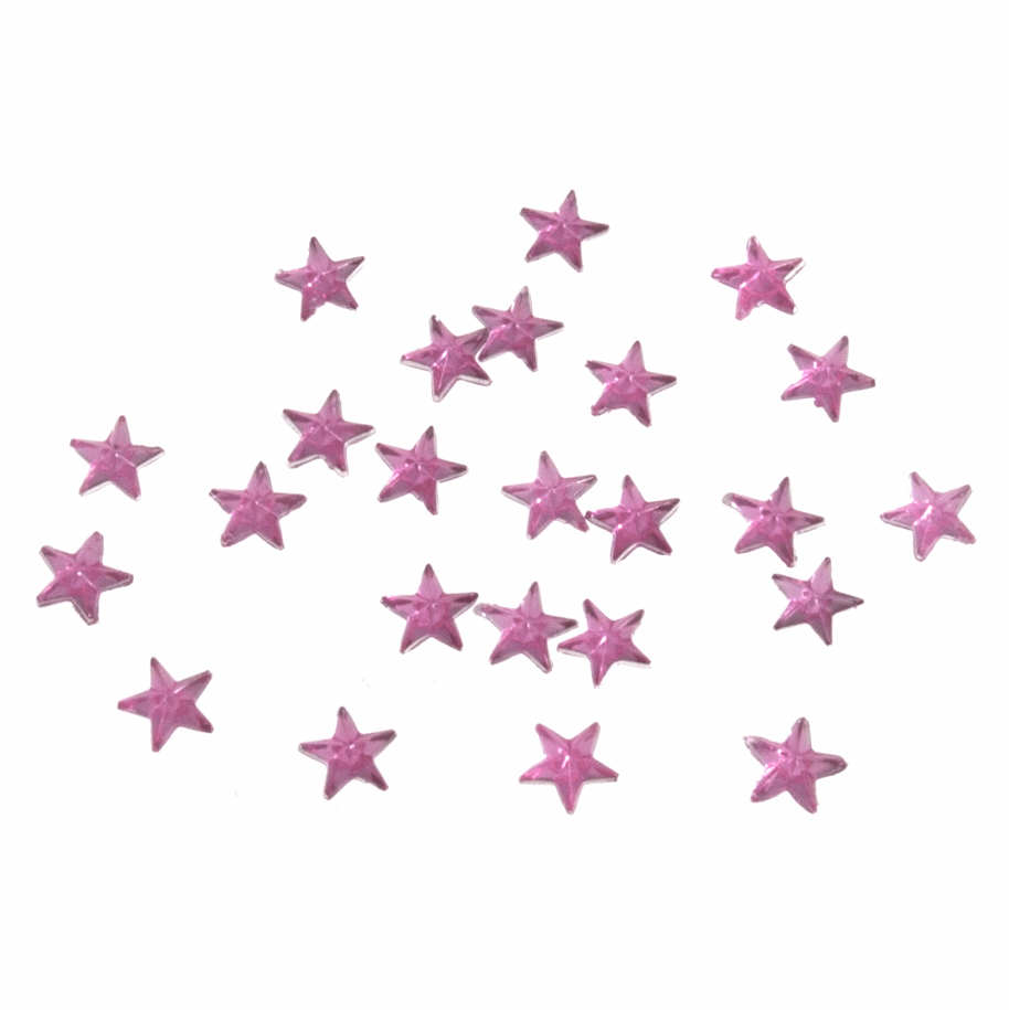Picture of Acrylic Stones: Glue-On: Star: 6mm: Pink