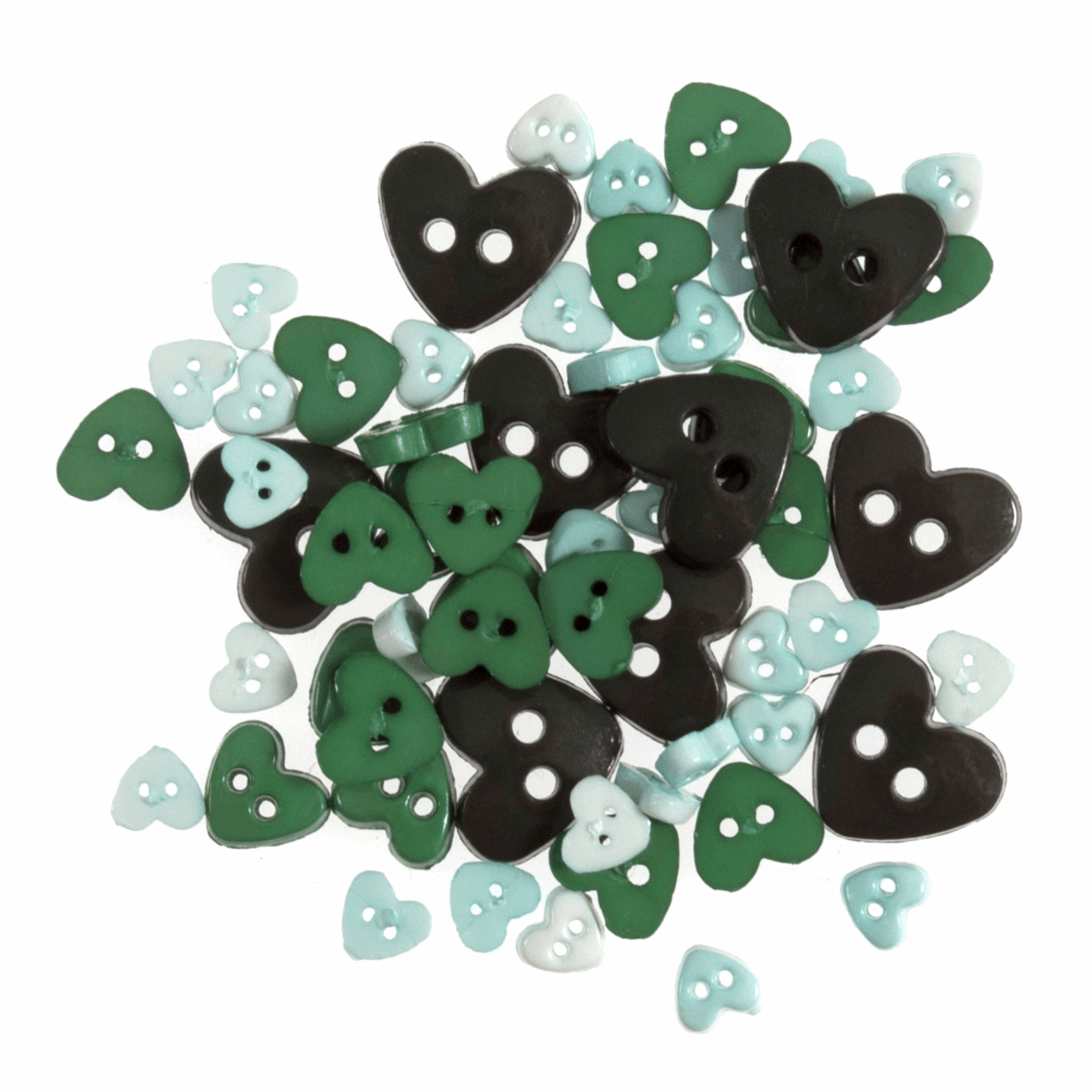 Picture of Mini Craft Buttons: Hearts: Green: 2.5g