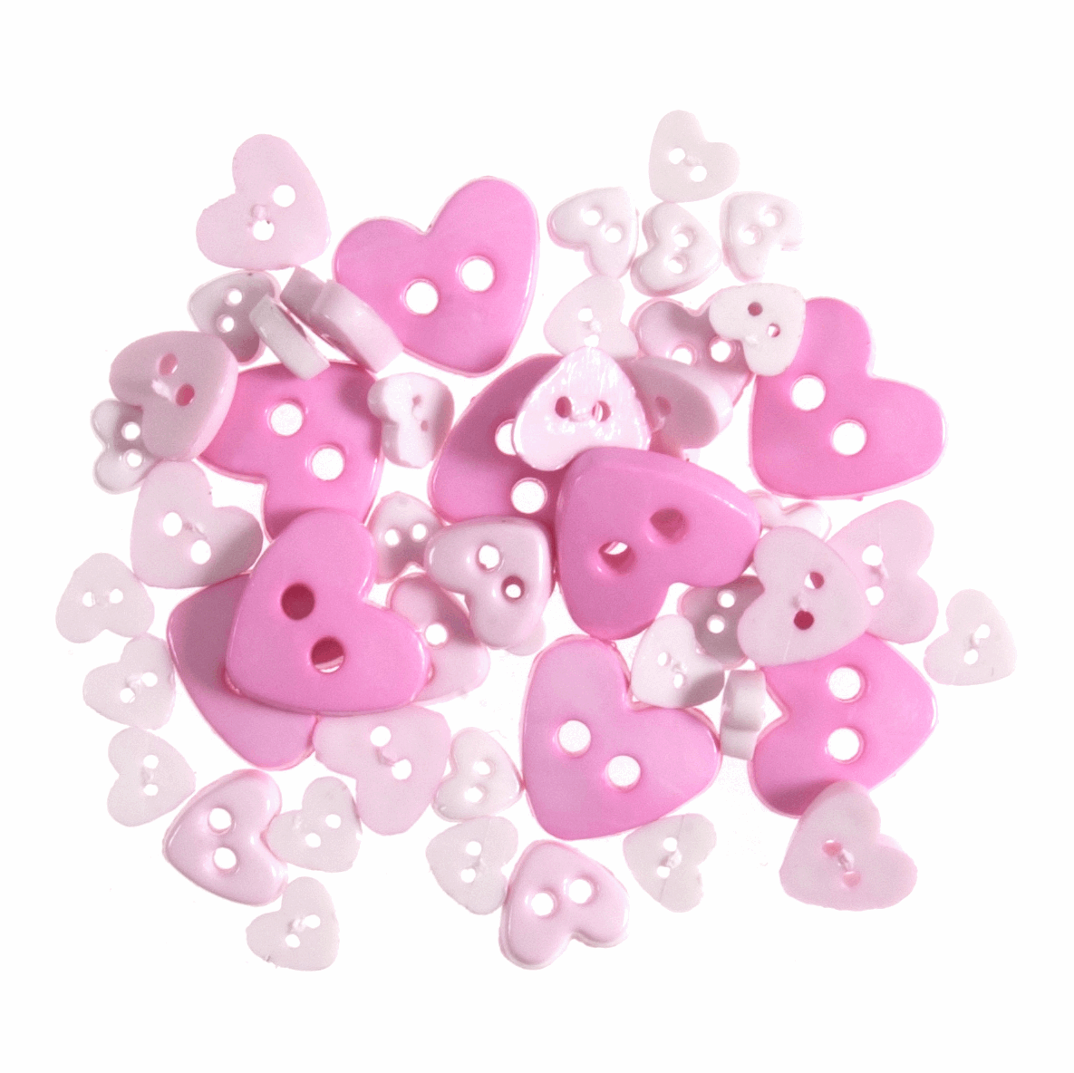 Picture of Mini Craft Buttons: Hearts: Pink: 2.5g