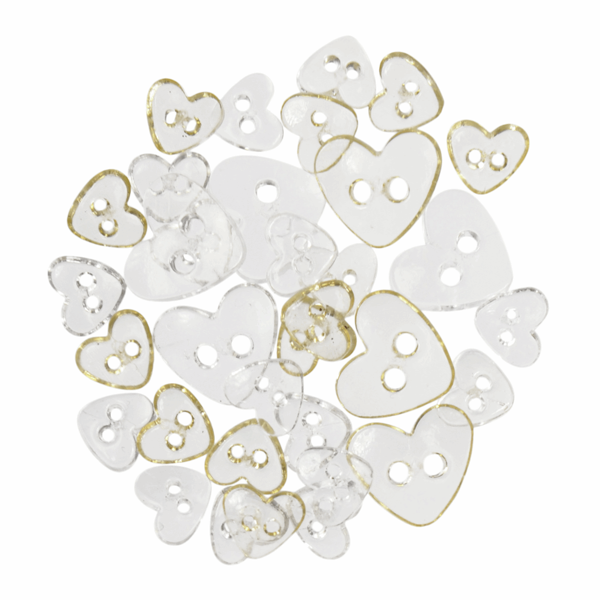 Picture of Mini Craft Buttons: Hearts: Transparent: Assorted White: 1.5g