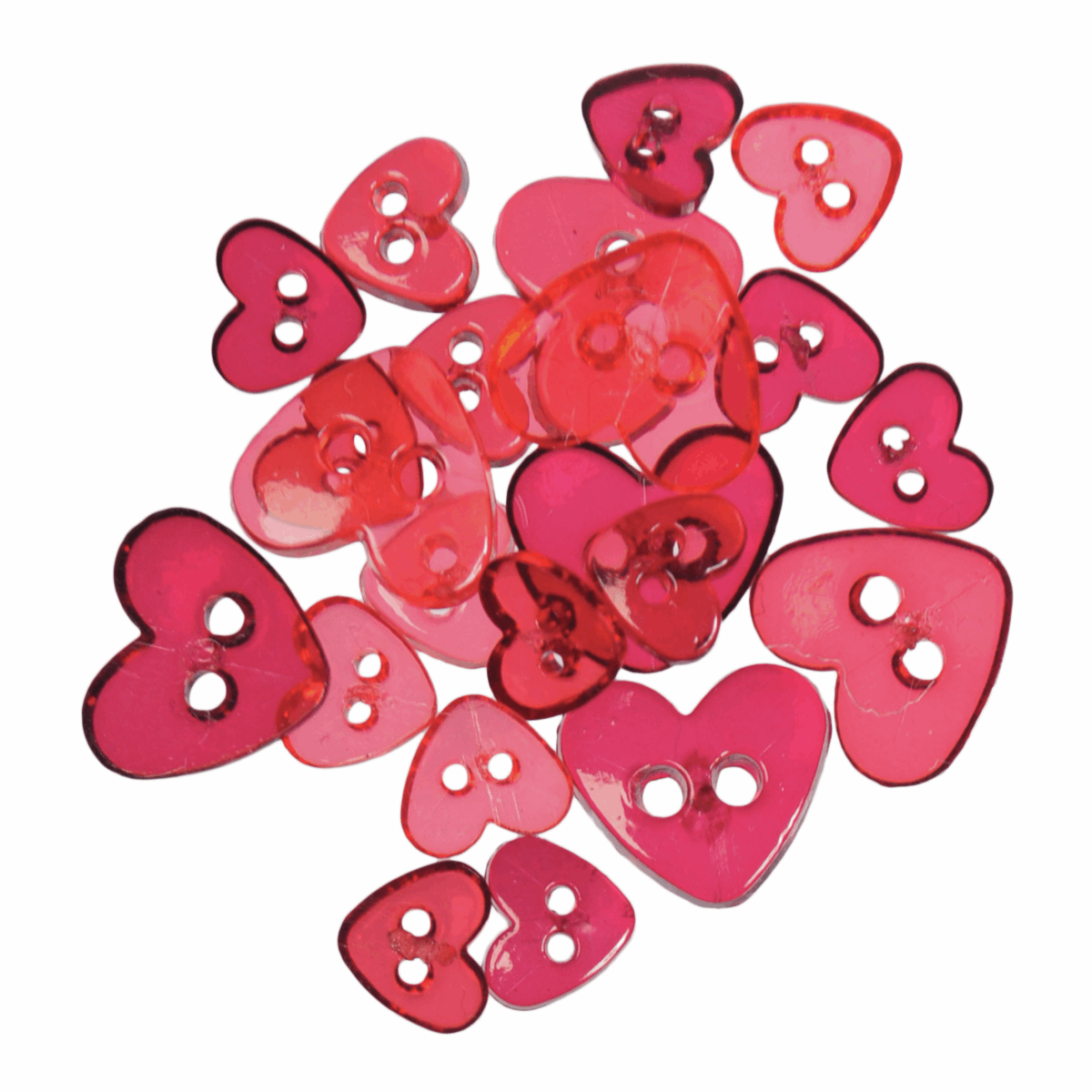 Picture of Mini Craft Buttons: Hearts: Transparent: Assorted Red: 1.5g