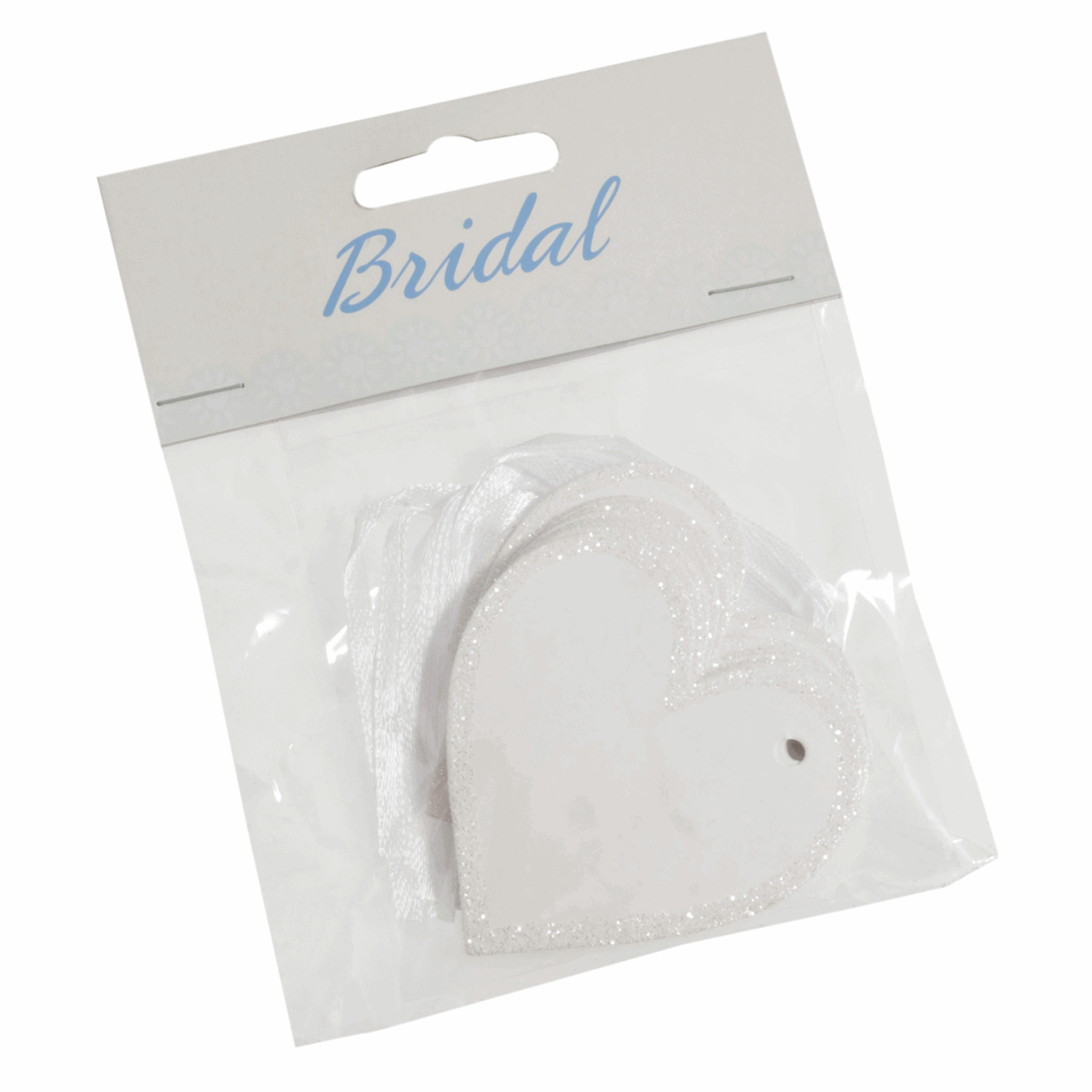 Picture of Tags: Heart with Ribbon: 60mm: Pack of 10: White