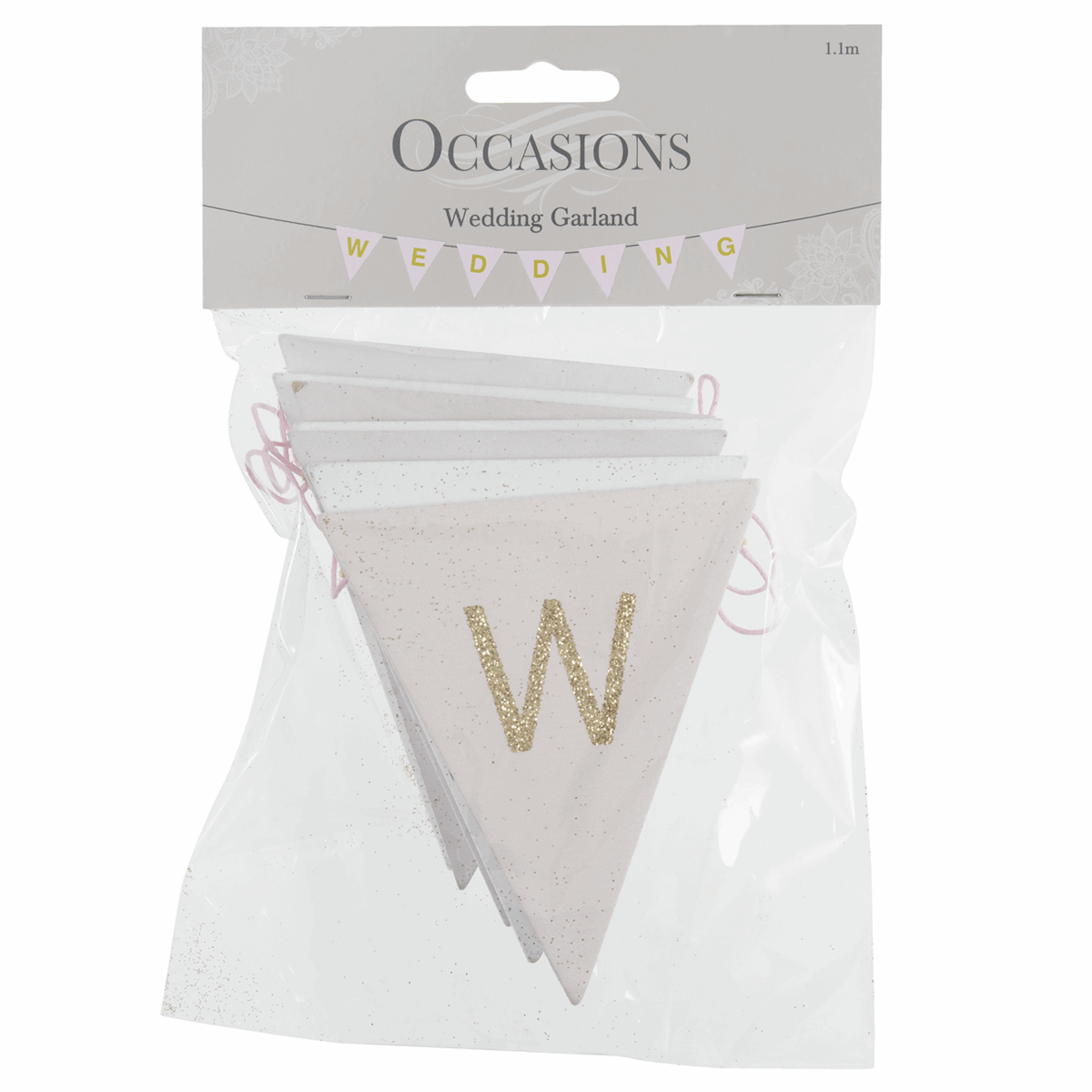 Picture of Bunting: Wedding: Pink & White with Gold Glitter