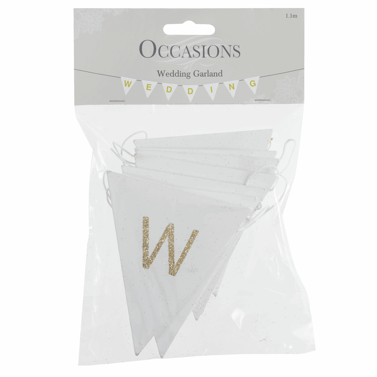Picture of Bunting: Wedding: White with Gold Glitter