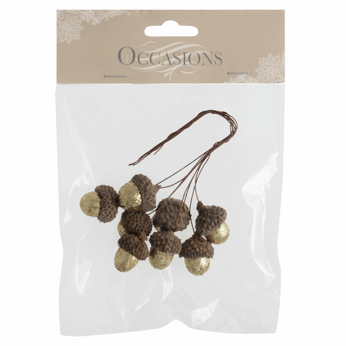 Picture of Glitter Acorns on Wire: 8 Pieces