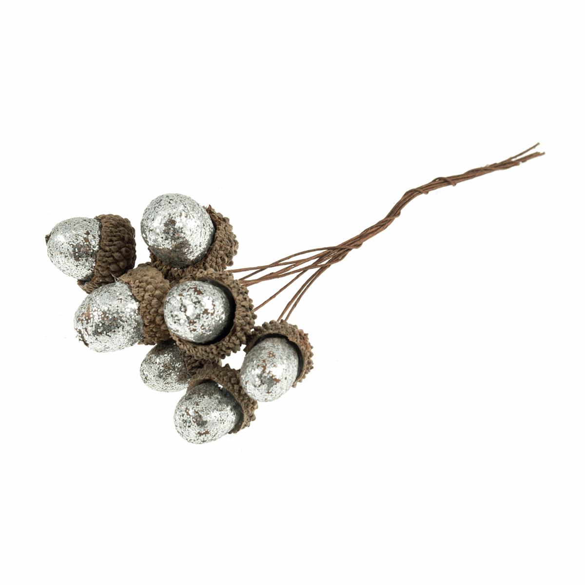 Picture of Glitter Acorns on Wire: Silver: 1 Bunch of 8