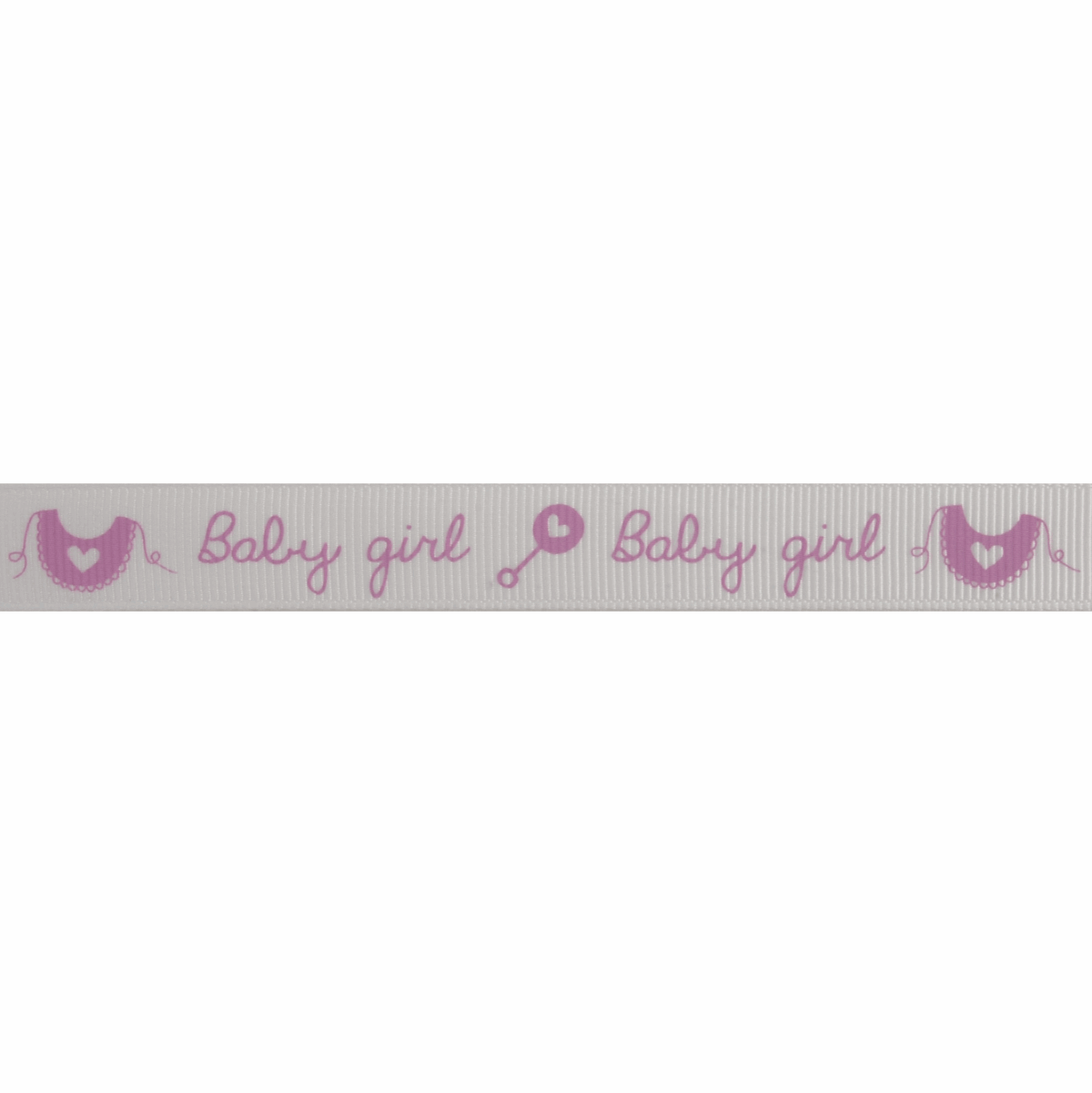 Picture of Grosgrain: Baby Girl Rattle & Bib: Pink: 5m x 15mm