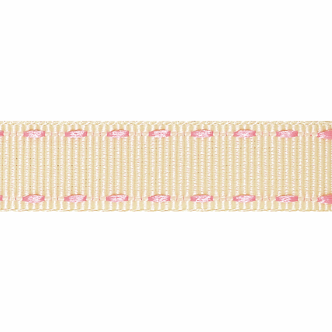 Picture of Stitched Grosgrain: 4m x 15mm: Ivory/Pink
