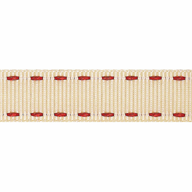 Picture of Stitched Grosgrain: 4m x 15mm: Ivory/Red