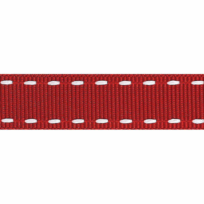 Picture of Stitched Grosgrain: 4m x 15mm: Red/White